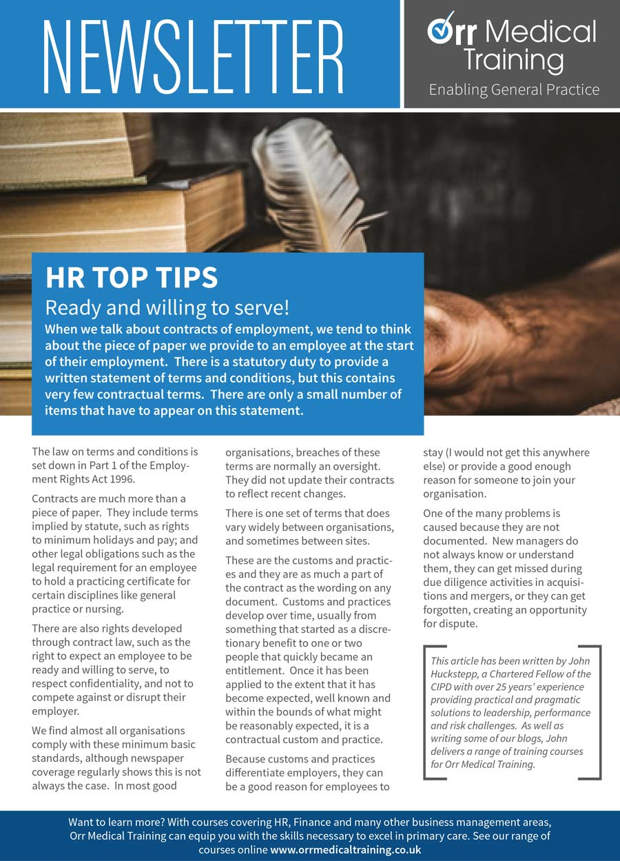 Newsletter – HR Top Tips