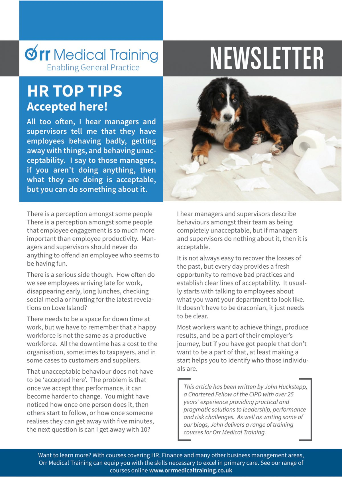 Newsletter – HR TOP TIPS – Managing Behaviours