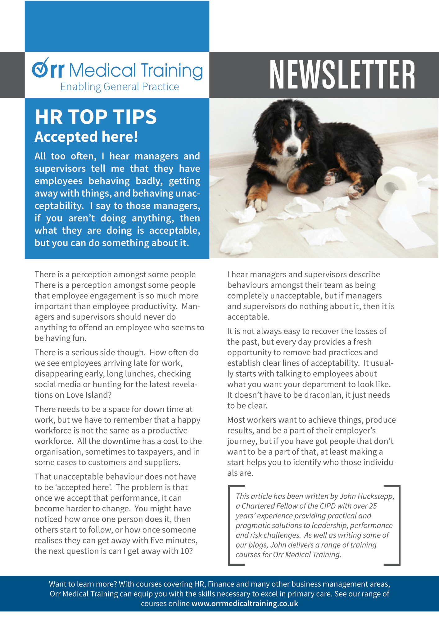 Newsletter – HR TOP TIPS – Managing Behaviours Orr Medical Training