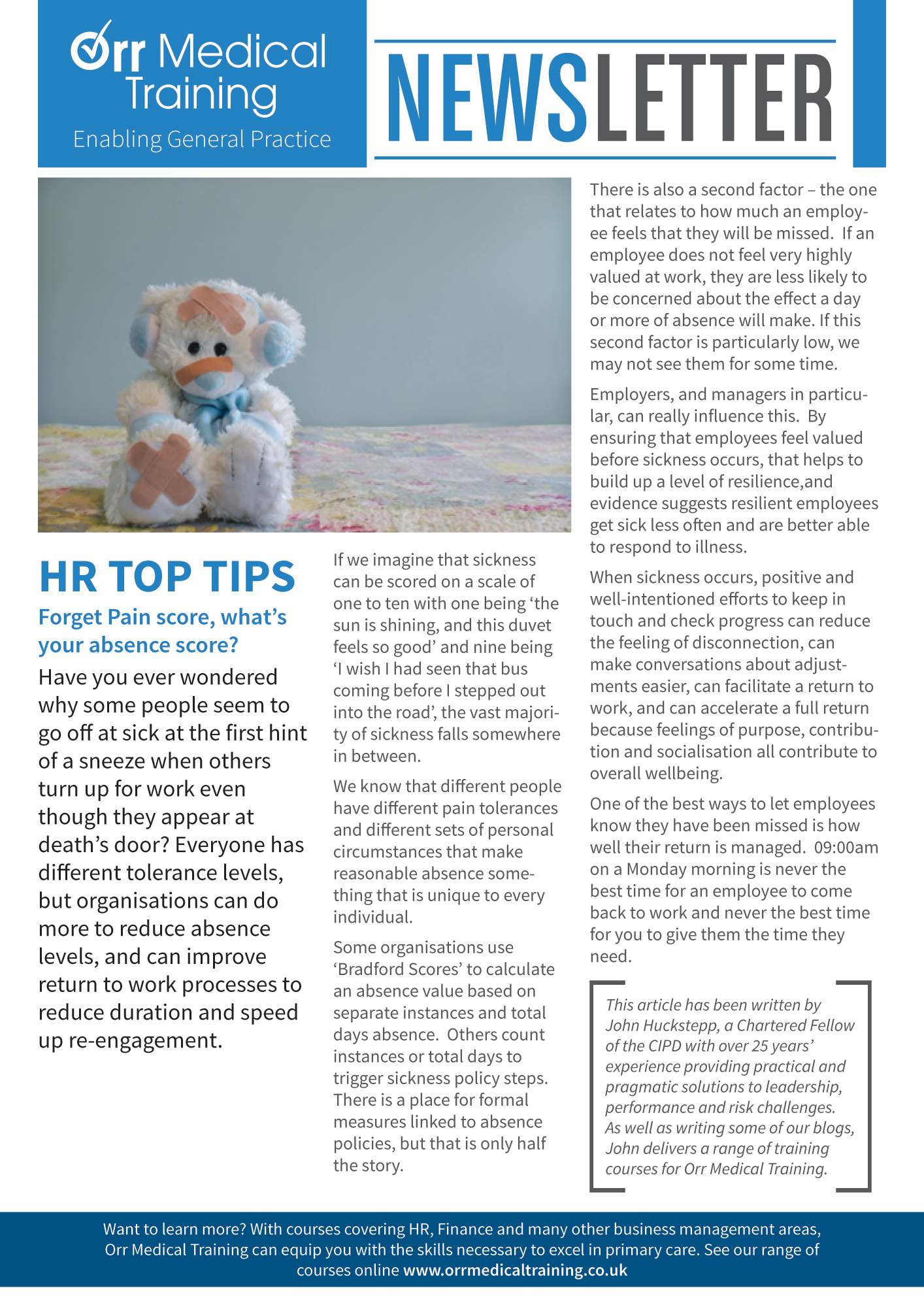 Newsletter – HR TOP TIPS – Absence Score Orr Medical Training